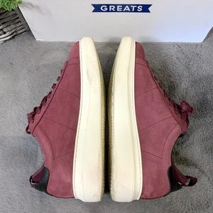 Greats Shoes - GREATS The Alta Maroon Nubuck Leather Sneakers